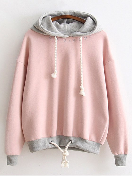 Bicolor Drawstring Pullover Hoodie - PINK ONE SIZE Mobile