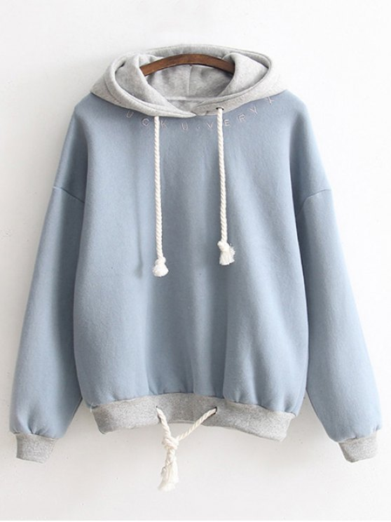 sale Bicolor Drawstring Pullover Hoodie - LIGHT BLUE ONE SIZE