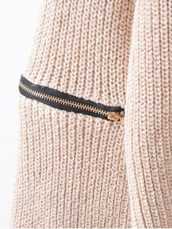 Zippered Sleeve Choker Jumper - BEIGE ONE SIZE Mobile