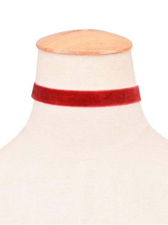 retro  collier ras-du-cou velours - Rouge