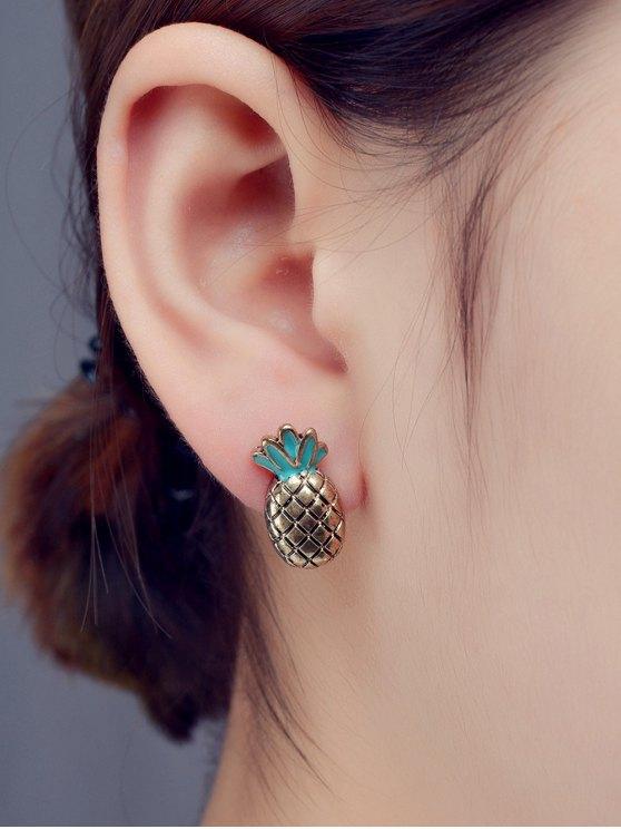 fashion Enameled Pineapple Stud Earrings - BRONZE-COLORED