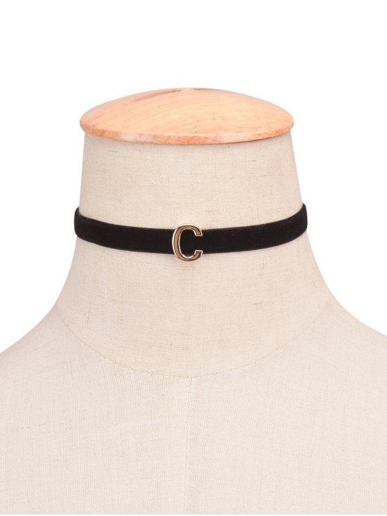 collier velours ras-du-cou avec une lettre de A - 03#
