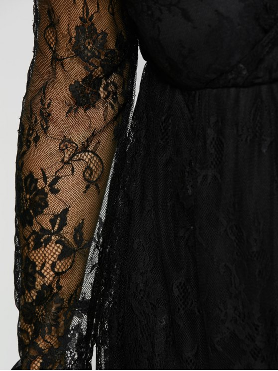 Empire Waist Lace Plus Size Dress - BLACK XL Mobile