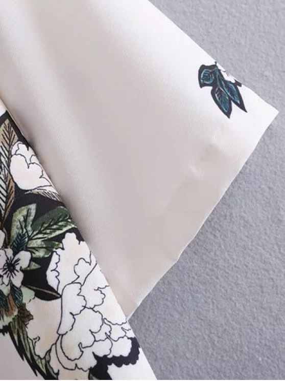 Round Neck Floral Straight Shift Dress - WHITE L Mobile