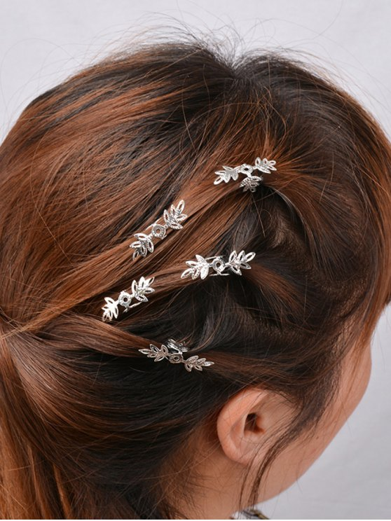 women 5PCS Openwork Floral Hair Accessory Set - SILVER