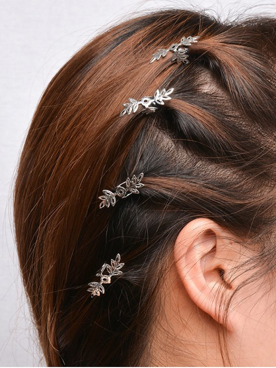 5PCS Openwork Floral Hair Accessory Set - SILVER  Mobile