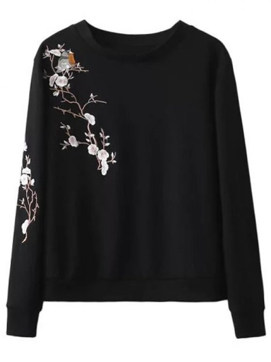 women Floral Bird Embroidered Sweatshirt - BLACK M