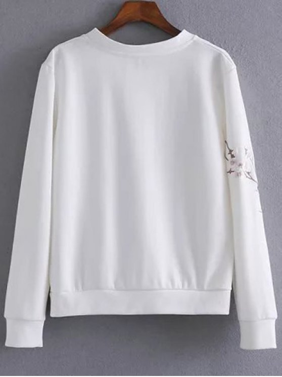Floral Bird Embroidered Sweatshirt - WHITE M Mobile