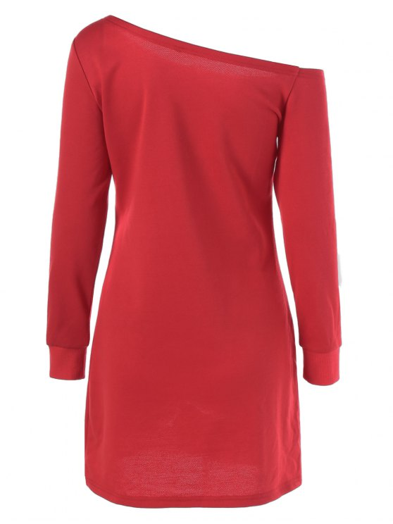 Snowflake Pattern Skew Collar Sweatshirt Dress - RED WITH WHITE M Mobile