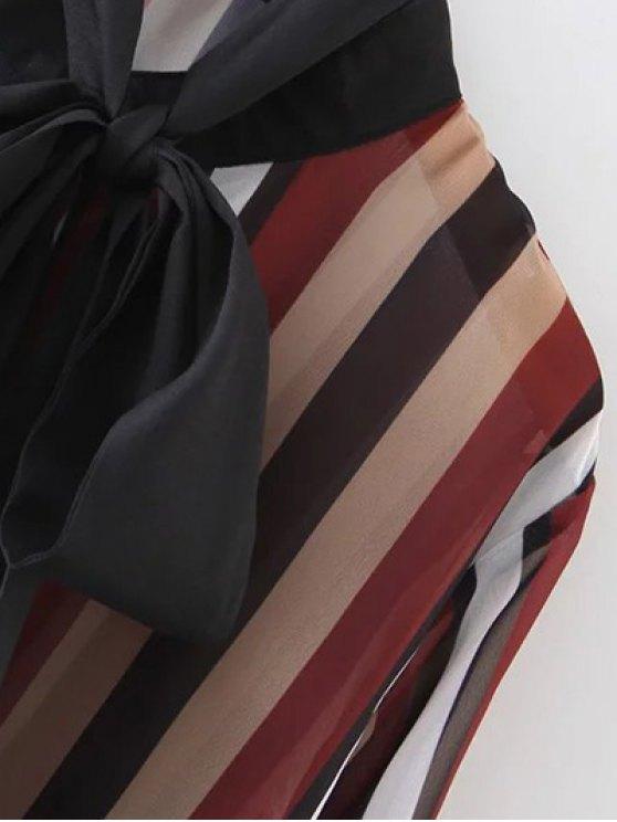Colorful Striped Bow Tie Blouse - STRIPE M Mobile