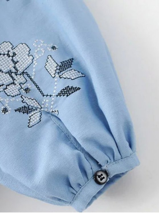 Lantern Sleeve Embroidered Tunic Blouse - LIGHT BLUE L Mobile