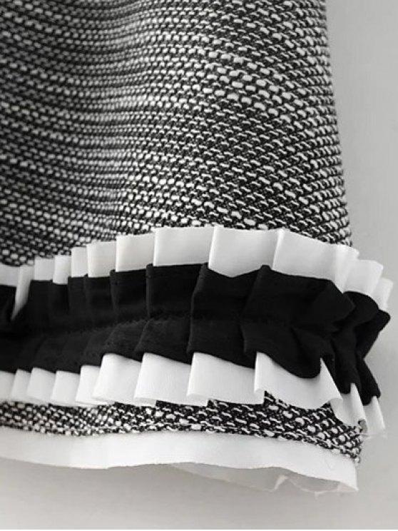 Frill Trim Long Sleeve A Line Dress - GRAY L Mobile