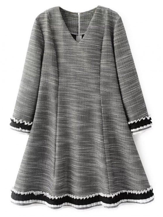 Frill Trim Long Sleeve A Line Dress - GRAY L Mobile