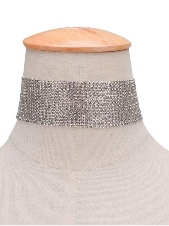 Collar Gargantilla cobre de las lentejuelas retro - Plata