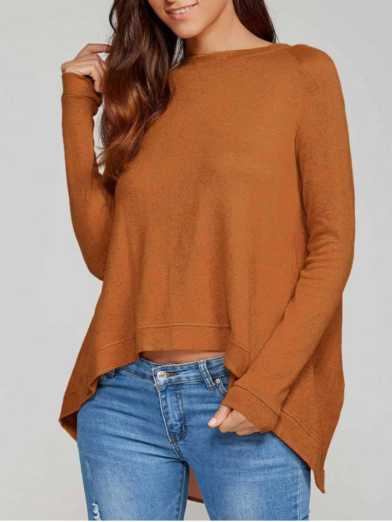 latest High Low Back Slit Knitwear - CAMEL M