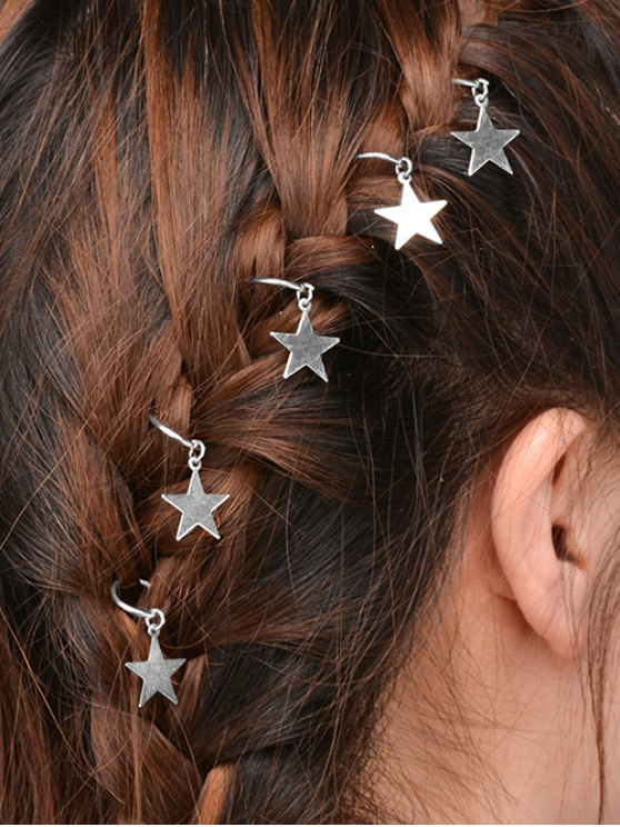 affordable 5 PCS Adorn Star Hair Accessories - SILVER