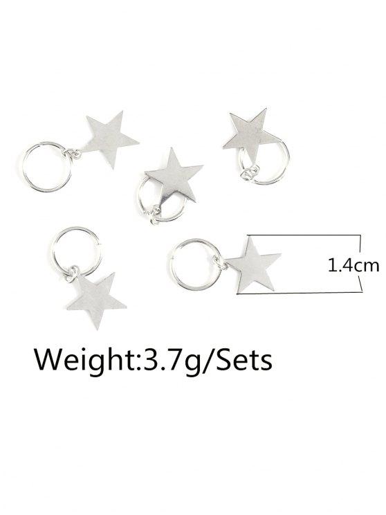 5 PCS Adorn Star Hair Accessories - SILVER  Mobile