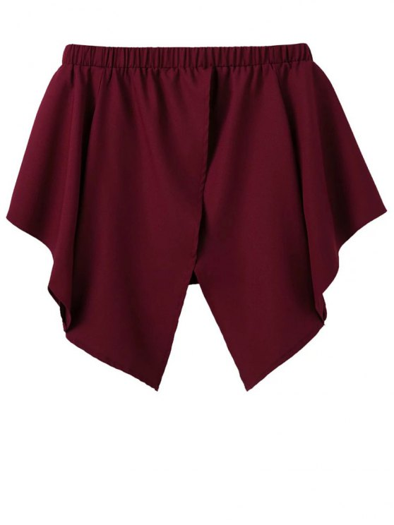 Off The Shoulder Crossover Back Smock Top - BURGUNDY L Mobile