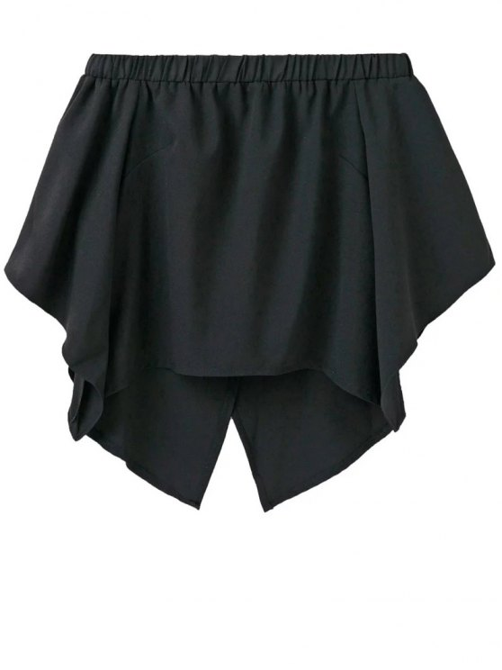 Off The Shoulder Crossover Back Smock Top - BLACK L Mobile