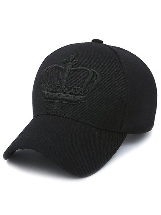 Embroidery Crown Baseball Cap - JET BLACK  Mobile