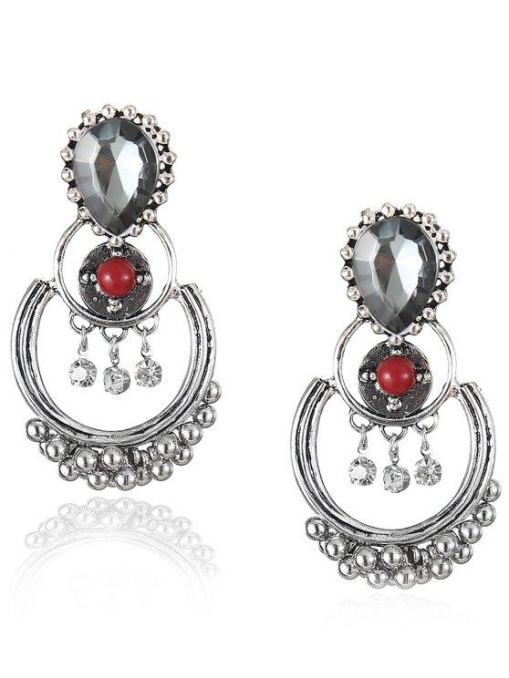 women Bohemian Artificial Gemstone Beads Drop Earrings - RED