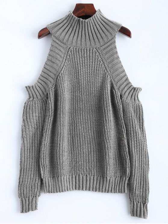 unique Cold Shoulder Funnel Collar Jumper - GRAY ONE SIZE