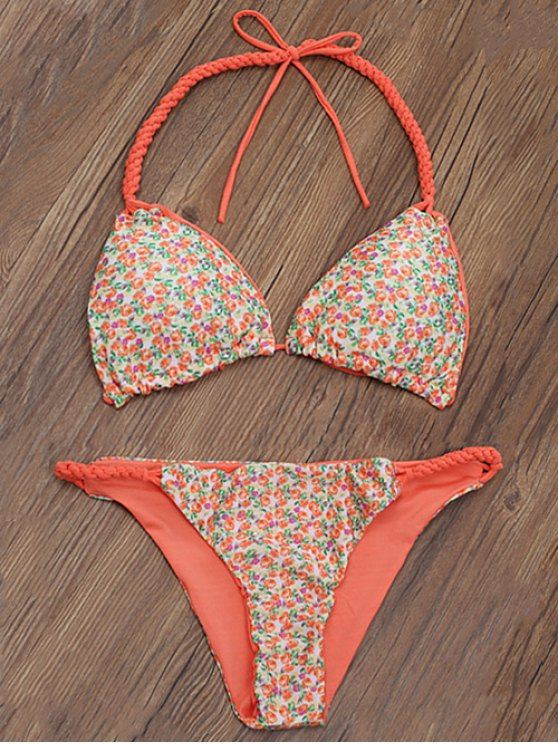 Trenzada Tiny Floral Bikini de la correa - Naranja M