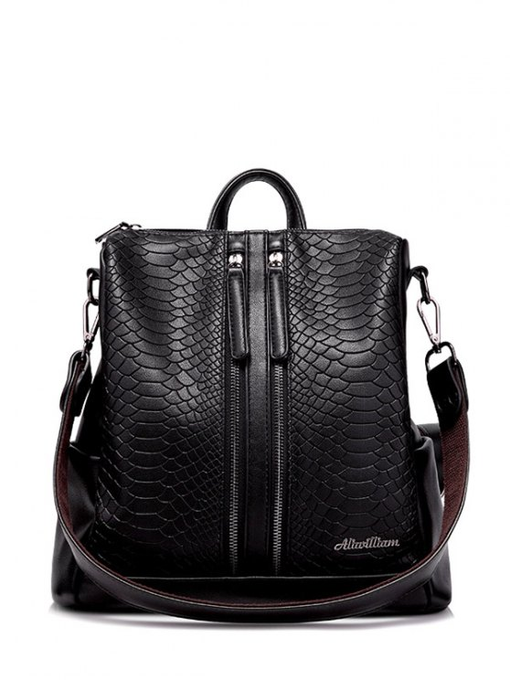 womens Snake Embossed Multi Zips Backpack - BLACK