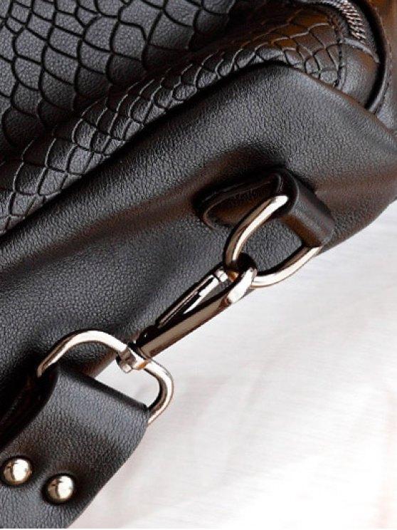 Snake Embossed Multi Zips Backpack - BLACK  Mobile