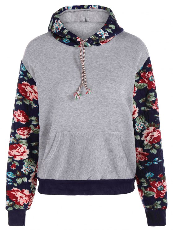 fancy Floral Spliced Long Sleeve Pullover Hoodie - LIGHT GRAY M