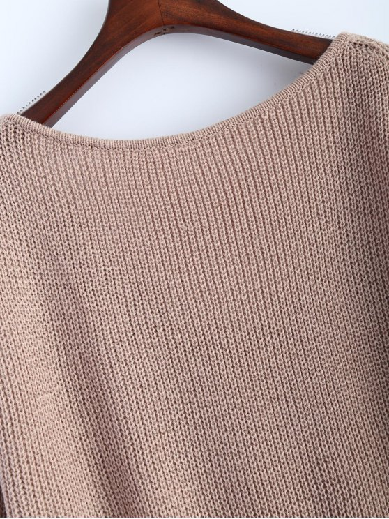 High Low Oversized Pullover Sweater - KHAKI ONE SIZE Mobile