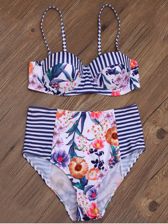 La raya de la impresión floral de la alta subida del bikini - Multicolor M