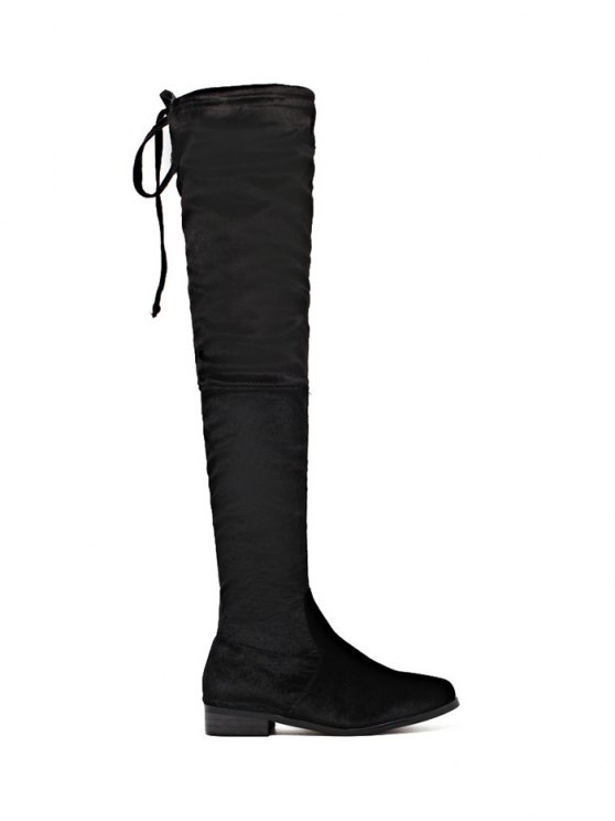 online Tie Up Zip Flat Heel Thigh Boots - BLACK 40