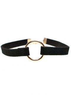 Velvet Strip Copper Coil Choker Necklace - Black