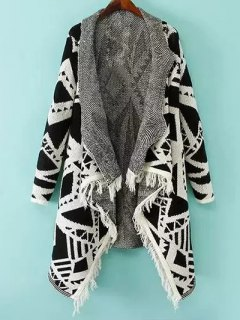 Geometric Pattern Shawl Collar Cardigan - White And Black M