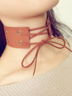 Bowknot Faux Leather Choker - Brown