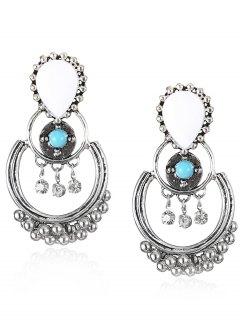 Bohemian Artificial Gemstone Beads Drop Earrings - Green