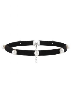 Artificial Pearl Leather Velvet Choker Necklace - Black