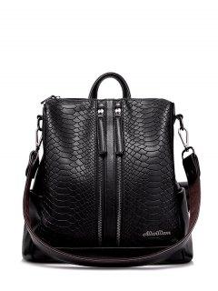 Snake Embossed Multi Zips Backpack - Black