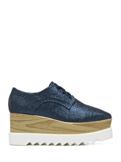 Sequined Tie Up Square Toe Wedge Shoes - Deep Blue 38