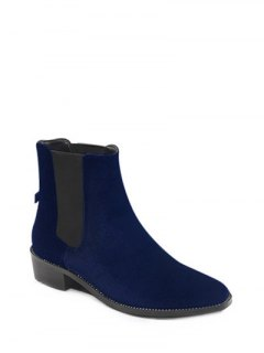 Splicing Flat Heel Elastic Band Ankle Boots - Deep Blue 38