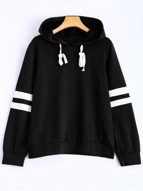 trendy Stripes Pullover Hooded Sweatshirt - BLACK M Mobile