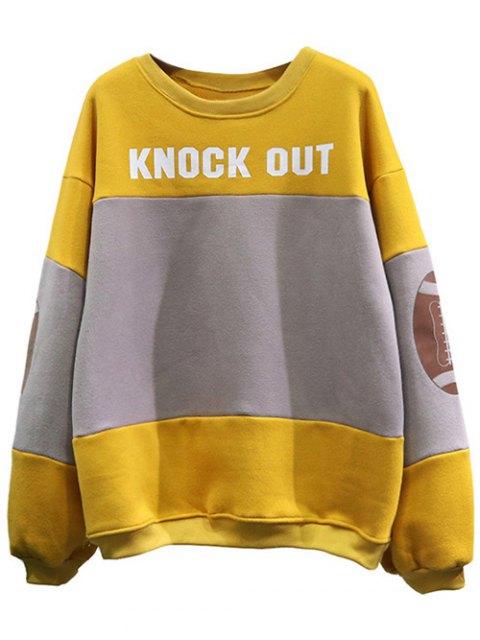 trendy Color Block Oversized Sweatshirt - YELLOW ONE SIZE Mobile
