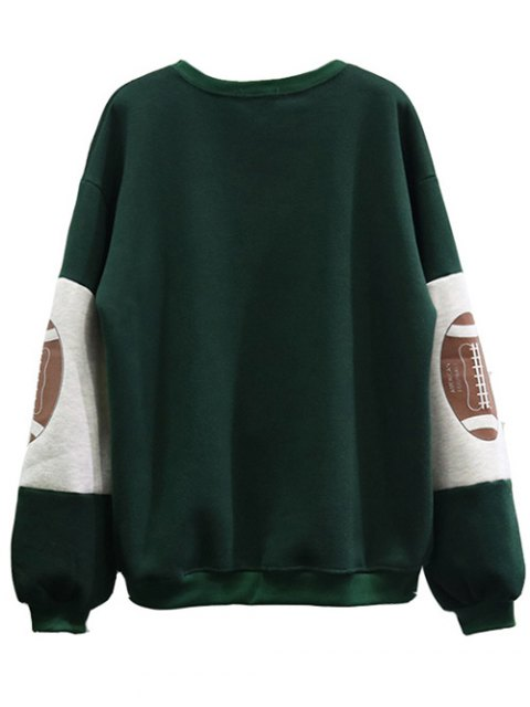 fashion Color Block Oversized Sweatshirt - GREEN ONE SIZE Mobile