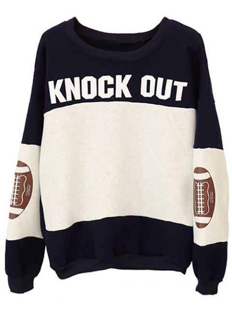 chic Color Block Oversized Sweatshirt - BLACK ONE SIZE Mobile
