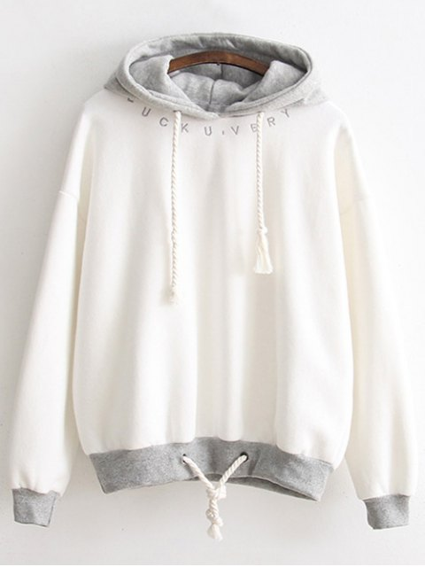 fancy Bicolor Drawstring Pullover Hoodie - WHITE ONE SIZE Mobile