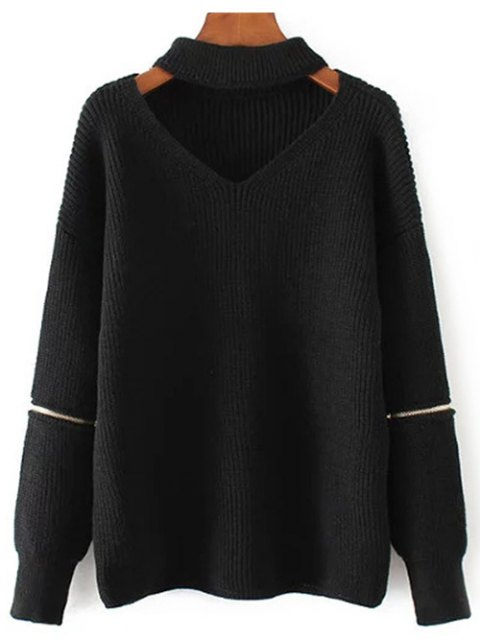 hot Zippered Sleeve Choker Jumper - BLACK ONE SIZE Mobile
