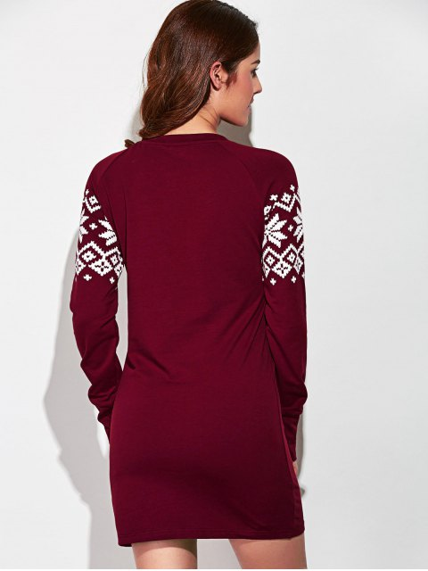 buy Raglan Sleeve Snowflake Pattern Dress - RED WITH WHITE M Mobile