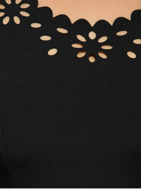 ladies Burnout Print Plus Size Slimming Fishtail Dress - BLACK 4XL Mobile