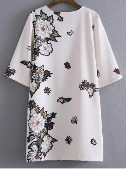 sale Round Neck Floral Straight Shift Dress - WHITE M Mobile